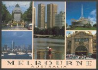 pc aus melbourne 1990 single sculer on the yarra river and four other sights of the city