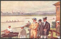 pc aut b.k.w.i. 460 1 drawing of five men watching a single sculler with other boats training on the water