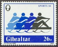 stamp gib 1984 may 25th sports mi 479 four identical pictogrammes 4x
