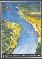 pc ger berlin og 1936 gruenau kampfstaette fuer rudern birds eye view of regatta course coloured drawing