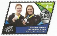 Stamp NZL 20116 OG Rio de Janeiro W2 silver medal winners Genevieve Behrent Rebecca Scown