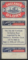 Matchbook cover GBR 1956 Moreland Sons Ltd. Englands Glory with regatta announcement Newquay RC Coll. E