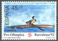 stamp esp 1991 march 7th og barcelona mi 2982 painting of 1x