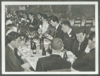 cc gdr 1954 volkseigene zigarettenindustrie og helsinki 1952 bild 65 the usa m8 gold medal winner crew at a dinner together with the urs m8 crew who won the silver medal