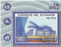 Stamp ECU 2016 OG Rio de Janeiro MS with two pictograms in left margin detail I