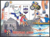 stamp esa 2008 july 3rd mi bl. 69 ss og beijng with number 0735 w1x