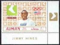 stamp ajman 1969 march 1st og mexico gold medal winners mi 448 a j. hines pictogram