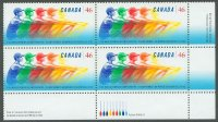 stamp can 1999 aug. 22nd wrc st. catherines mi 1786 block of 4 with label in french label with 9 oars