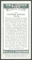 cc gbr 1934 churchmans cigarettes well known ties no. 49 leander rowing club - 8 race at henley and red tie - reverse