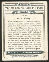 CC GBR 1928 Churchmans Cigarettes H.A. Barry professional World champion 1927 reverse