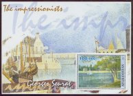 stamp afg 2001 ss g. seurat the seine at the isle of grande jatte in spring