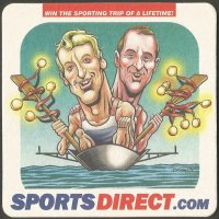 Beer mat GBR SPORTSDIRECT Steve Redgrave Matthew Pinsent three times M2 Olympic gold medal winners 1988 1992 1996