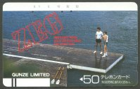 tc jpn zeg men s body wear gunze ltd. two rowers standing on right end of pontoon