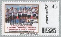 Stamp GER 2018 Deutsche Sporthilfe gold medal win for German M8 crew at WRC Sarasota USA 2017.jpg so002