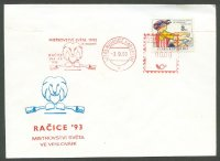 illustrated cover cze 1993 wrc racice with stamp and red meter pm