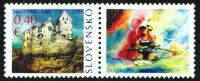 stamp svk 2013 personalized issue with coloured drawing of a m2 and olympic rings in background