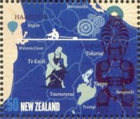 stamp nzl 2009 aug. 5th mi 2618 a tiki tour lake karapiro white pictogram