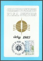 illustrated card fra 1983 jwrc vichy with pm aug. 6th 7th logo