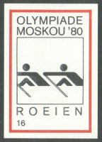 label ned olympiade moskou 80 no. 16 roeien pictogram
