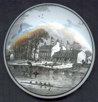 memorabilia gbr undated china box the oxford and cambridge boat race london rcboathouse at putney from a wood engraving dated 1872 lid