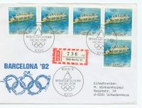 fdc ger 1992 febr. 6th og barcelona 8 registered letter