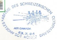 cachet sui 1984 july 23rd zuerich flight departure of swiss olympic team to og games los angeles