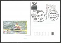 Illustrated card CZE 2012 Ondrej Synek CZE M1X silver medal winner at OG London with PM Prague Aug. 24th and photo