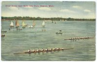 pc usa river scene near belle isle park detroit pu 1911 two 8 racing
