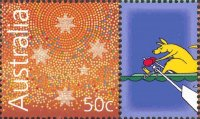 stamp aus 2004 march 16th mi 2297 with boxing kangaroo on cinderella
