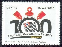 stamp bra 2010 sept. 1st sport club corinthians paulista 100 years centenary logo