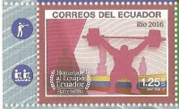 Stamp ECU 2016 OG Rio de Janeiro MS with two pictograms in left margin detail II