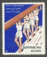 cinderella sui 1940 og helsinki swiss rowing federation drawing of 4 crew carrying their boat overhead