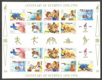 stamp mgl 1996 june 26th ms mi 2633 2641 centenary of olympics 1896 1996 imperforated with pictogram in gutter margin