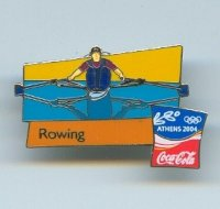pin gre og athens 2004 coca single sculler with reflected image official logo coca cola