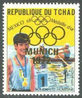 stamp cha 1972 febr. 7th gold medal winners at og mexico with golden imprint munich 1972 olympic rings mi 482