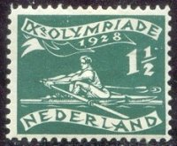 stamp ned 1928 march 27th og amsterdam mi 205 single sculler