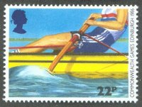 stamp gbr 1986 july 15th commonwealth games mi 1077 sweep oar rower