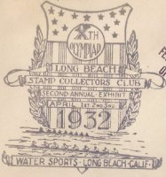 Cachet USA 1932 OG Los Angeles Long Beach Water Sports