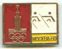 pin urs 1980 og moscow golden pictogram on cream background with logo of the games on the left