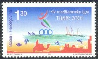 stamp bih 2001 may 30th mi 241 mediterranean games tunis 2001 pictogram