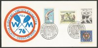 Illustrated card AUT 1976 WRC for Juniors and Lightweights Villach Aug. 9th 14th PM logo