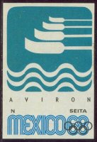 label fra og mexico 1968 official logo four blades stylized wave on blue background