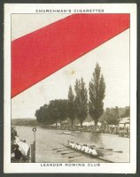 cc gbr 1934 churchman s cigarettes  well known ties  no. 11   leander rc   photo of henley regatta and red tie