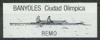 label esp 1992 og barcelona drawing of 2 with inscription banyoles ciudad olimpica remo