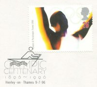 pm gbr 1996 july 7th henley on thames olympic centenary 1896 1996 pictogram