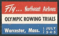 Label USA 1952 OG Helsinki Olympic Rowing Trials Worcester