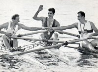 cc ned 1964 brio olympische spelen serie f foto no. f1 the three m1x medal winners from left to right kottmann sui bronze ivanov urs gold and hillgdr silver on the toda regatta course