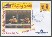 fdc aus 2008 aug. 19th st. ives d. ginn d. free m2 gold medal winners at og beijing