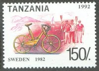 stamp tan 1992 bicycles mi 1450 rowers in background