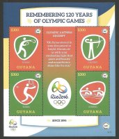 Stamp GUY 2016 MS OG Rio de Janeiro Remembering 120 years of Olympic Games Kopie